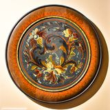 Framed Norwegian Painted Plate with Rosemaling Stock Images