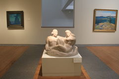 Framed paintings and intricate detail of sculpture, Portland Art Museum,Maine,2016 Stock Photography