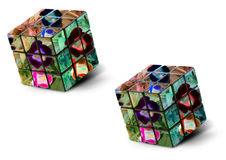 Framed photo collage - Flower - Cube Royalty Free Stock Photography