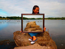 Framed Photo Manipulation Illusion. Taken at lake Stock Photography