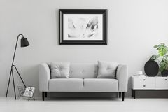 Framed photo on a wall above a fancy, gray sofa with cushions in a minimalist living room interior and place for a table. Real pho. To royalty free stock image