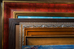 Framed pictures in the artist's studio. Close Royalty Free Stock Images