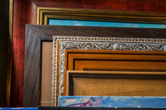 Framed pictures in the artist's studio Royalty Free Stock Photos