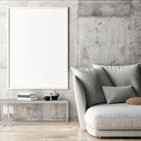 Framed poster in hipster living room Royalty Free Stock Images