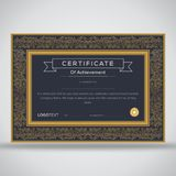Framed premium grey and gold certificate Royalty Free Stock Photos
