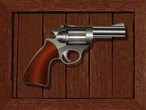 Framed revolver. Drawing over white background Royalty Free Stock Photos