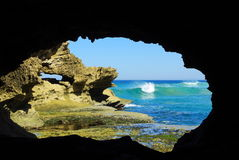 Framed rocky seascape stock photos