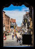 Framed shot of High Street, Chester, UK. Framed shot of timber framed buildings in High Street, Chester, UK Royalty Free Stock Photo