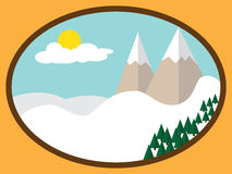 Framed simple flat winter mountains landscape, snow, trees Royalty Free Stock Photos