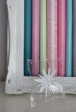 Framed Snowflake and Wrapping Paper Royalty Free Stock Images