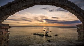Sunrise framed over the black sea. Framed sunrise over Saint Constantine and Elena, Bulgaria Stock Photo
