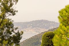 Framed view of Cap Ferrat in a summer day. Cote d`Azur French Riviera is situated in the southern eastern part of the mediterranean coast of France and it is stock photography