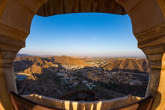 Framed view of the impressive landscape and cityscape from above at Amber Fort, famous travel destination in Jaipur, Rajasthan, In Stock Photos
