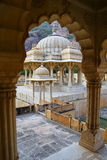 Framed view of Royal cenotaphs in Jaipur, Rajasthan, India Royalty Free Stock Images