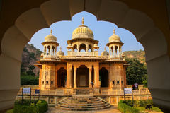 Framed view of Royal cenotaphs in Jaipur, Rajasthan, India Stock Images
