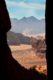 Framed view of Wadi Rum desert, Stock Photography