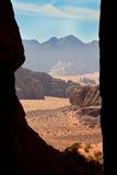 Framed view of Wadi Rum desert, Stock Photography