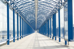 Framed Walkway. Half-mile of walkway protected from the elements at an airport Stock Image