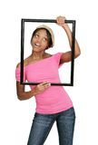 Framed woman in pink Royalty Free Stock Photography