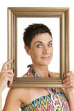 Framed woman on white Stock Photography