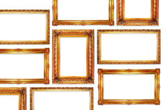 Frames. Golden frames in antique style for your pictures Stock Photos
