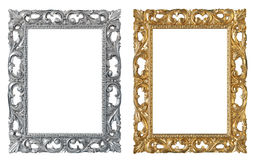 Frames. Empty picture silver and golden retro frames, isolated on a white background royalty free stock photography