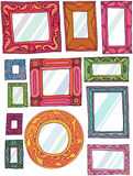 Frames. Twelve mirror/picture frames, hand drawn on white background with reflection Royalty Free Stock Photos