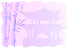 Frames with bamboo. Wonderful frames with chinese motives over pagoda with bamboo vector illustration