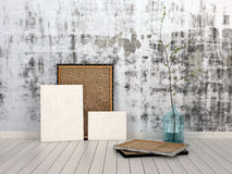 Frames and Boards Inside Empty Room. Frames and Boards Emphasizing Copy Space, Leaning on Unfinished Concrete Wall Inside an Empty Room with White Flooring Vector Illustration