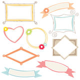 Frames and border. Picture frames and stickers in different colors Royalty Free Stock Photos