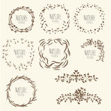 Frames and borders. hand drawn,. Brown round frame for text Royalty Free Stock Image