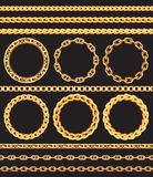 Frames and borders made of golden chains Royalty Free Stock Photo