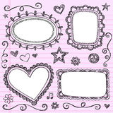 Frames Borders Sketchy Doodles Vector Set. Hand-Drawn Back to School Picture Frames Borders Sketchy Notebook Doodles Vector Illustration Design Elements on Lined Stock Photography