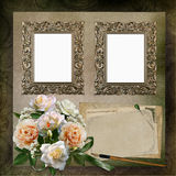 Frames, a bouquet of roses, old letters on a vintage background Royalty Free Stock Photos