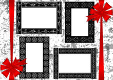 Frames with bows on grunge background Royalty Free Stock Images