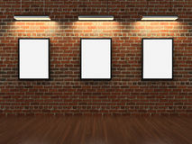 Frames on brick wall. 3D render Royalty Free Stock Images