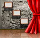 Frames on brick wall and curtain collage Royalty Free Stock Images