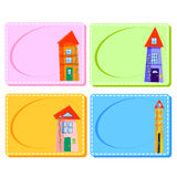 0116_28 frames cards. Assorted Baby Cards with a window inside. Set royalty free illustration