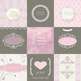 Frames, cards and patterns. Vintage templates. Stock Photos