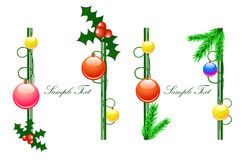 Frames from christmas balls and branches Royalty Free Stock Photography