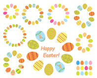 Frames of color easter eggs - set - vector Royalty Free Stock Photos