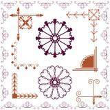 Frames colored. Frames, corners colored, flower motif vector illustration