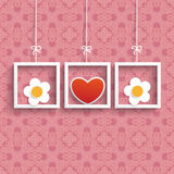Frames 3 Colored Hearts Flowers Ornaments. Frames with colored hearts and ornaments on the pink background stock illustration