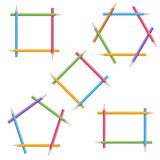 Frames of colorful pencils Stock Photography