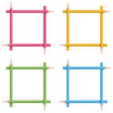 Frames of colorful pencils Royalty Free Stock Photography