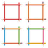 Frames of colorful pencils Royalty Free Stock Photos