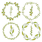 Frames with cute leaves. Spring decoration for banners, greeting and invitation ca  Frames with cute lerds, covers, package design Stock Photos