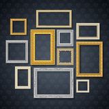 Frames On Dark Wall Set Royalty Free Stock Image