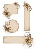 Frames de Grunge com flores ilustração stock