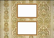 Frames de madeira no fundo do papel de parede Ilustração Royalty Free